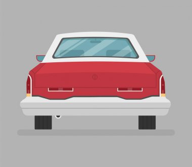 Car vector template Flat style logo icon illustration. Back view icon