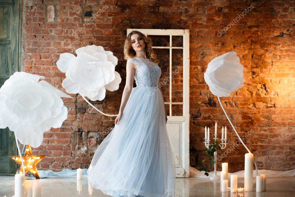 Bride In A Tender Light Blue Wedding Dress In A Morning Over