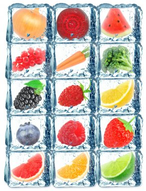 fruit vegetables in the ice cube