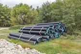 Fotografie Výstavba potrubí na staveništi v lese