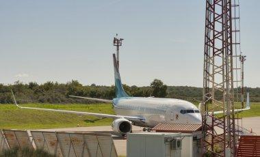 Airplane Luxair in Zracna Luka Airport. Pula, Croatia.