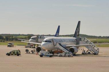 Planes in Zracna Luka Airport. Pula, Croatia.