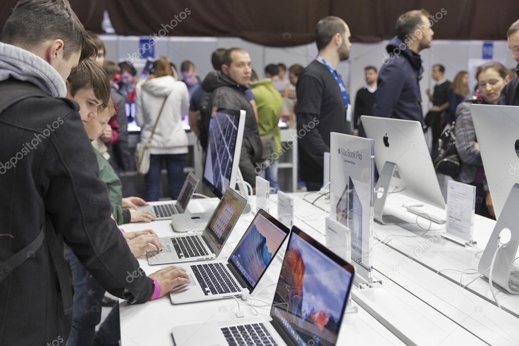 Apple company booth at CEE 2015, the largest electronics trade show in Ukraine