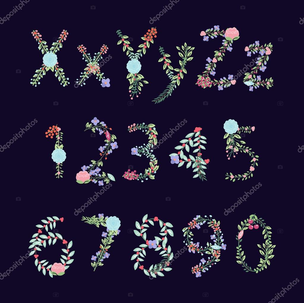 Vintage Style Vector Floral Alphabet with Uppercase and Lowercase Letters, and Numbers