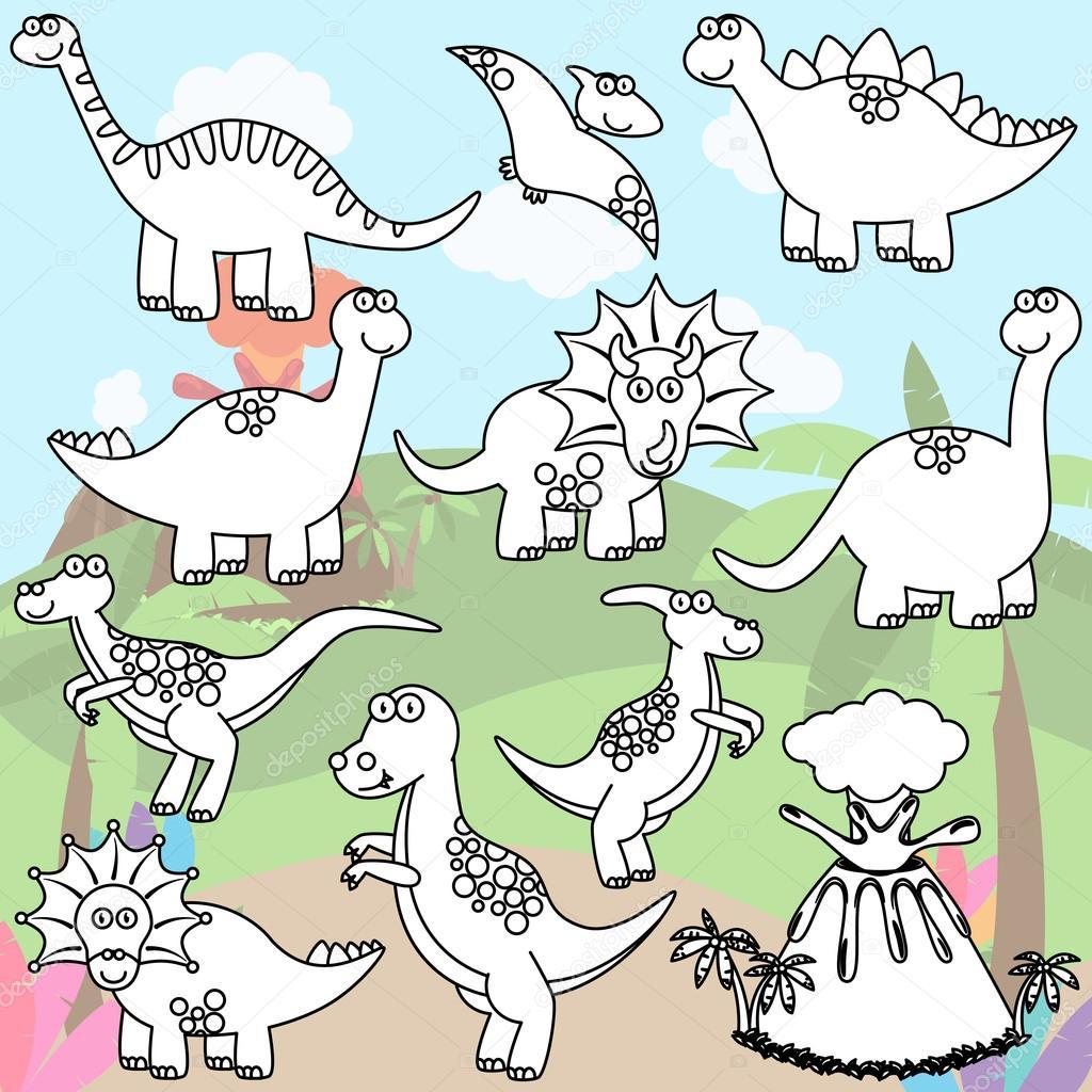 Vector Coloriage De Dessin Au Trait Dinosaures Et Un Volcan