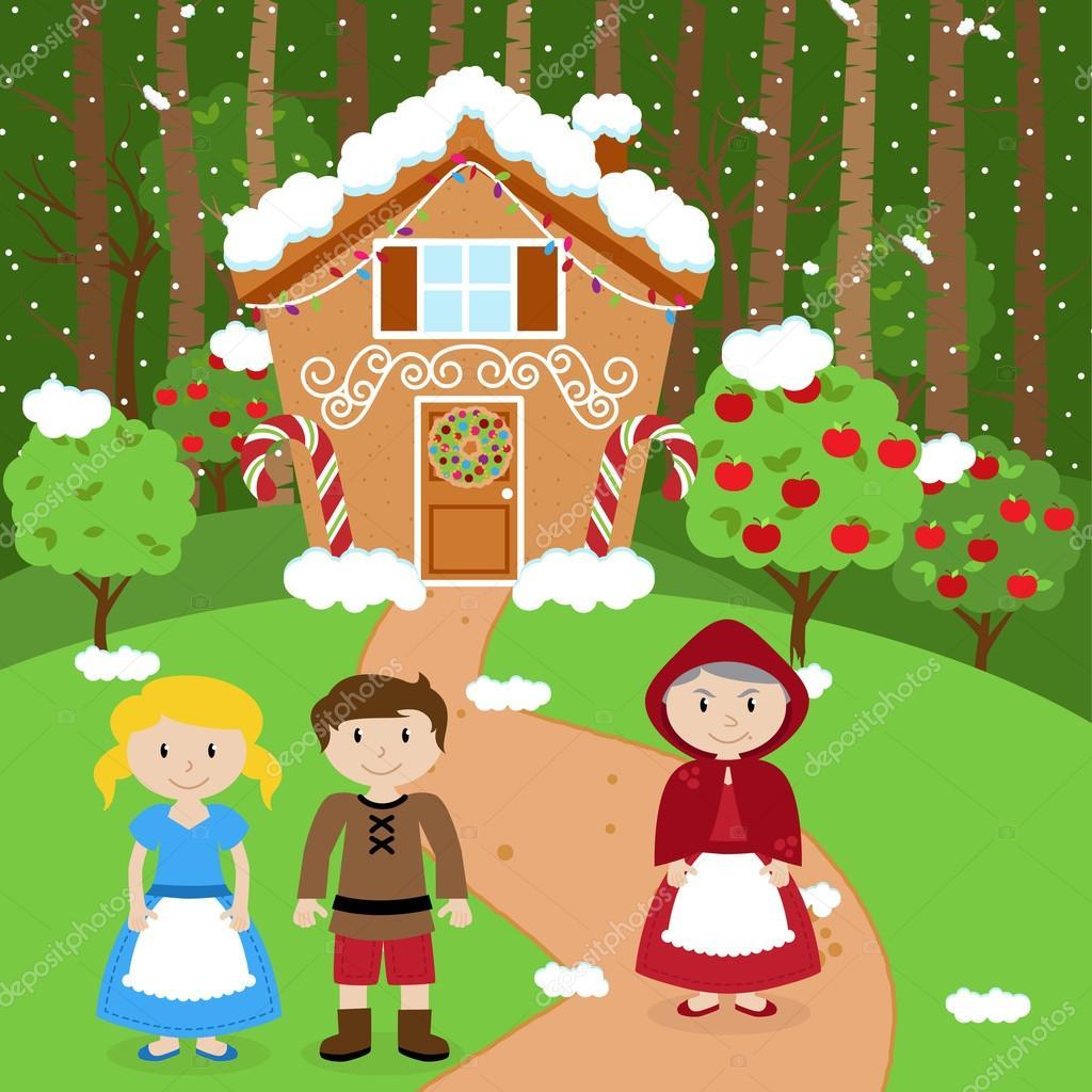 Scena Di Vettore Di Fiaba Con Hansel E Gretel La Strega E Una Casa