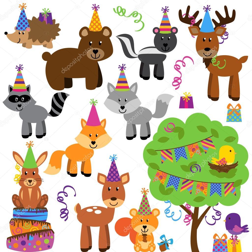 Vektor Sammlung von Geburtstagsparty Themen Wald oder Waldtiere 30
