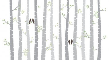 Vector Birch or Aspen Trees with Autumn Leaves and Love Birds stock vector
