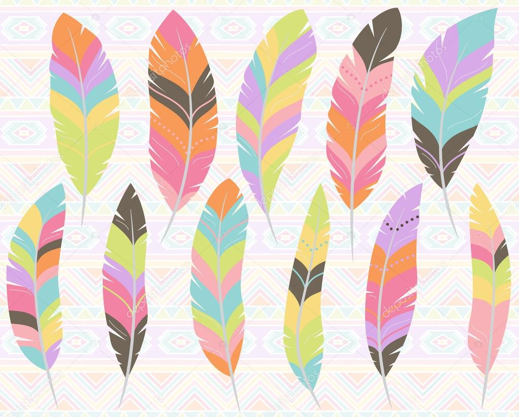 Vector Collection of Stylized Feathers