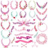 Fotografie Vector Collection of Valentines Day or Wedding Themed Laurels and Wreaths