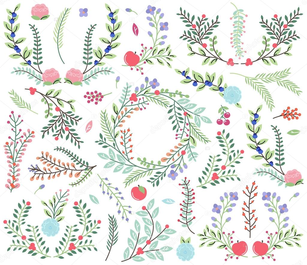Vector Collection of Vintage Style Hand Drawn Florals - Great for Weddings and other celebrations