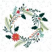 Fotografie Blumen- oder botanischer Weihnachtskranz