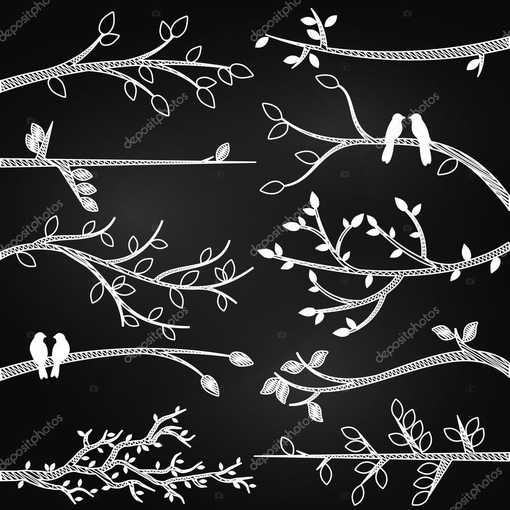 Chalkboard Style Tree Branch Silhouettes