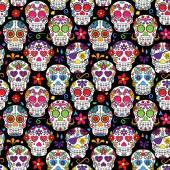 Fotografie Tag der Toten Sugar Skull nahtloser Vektor Hintergrund