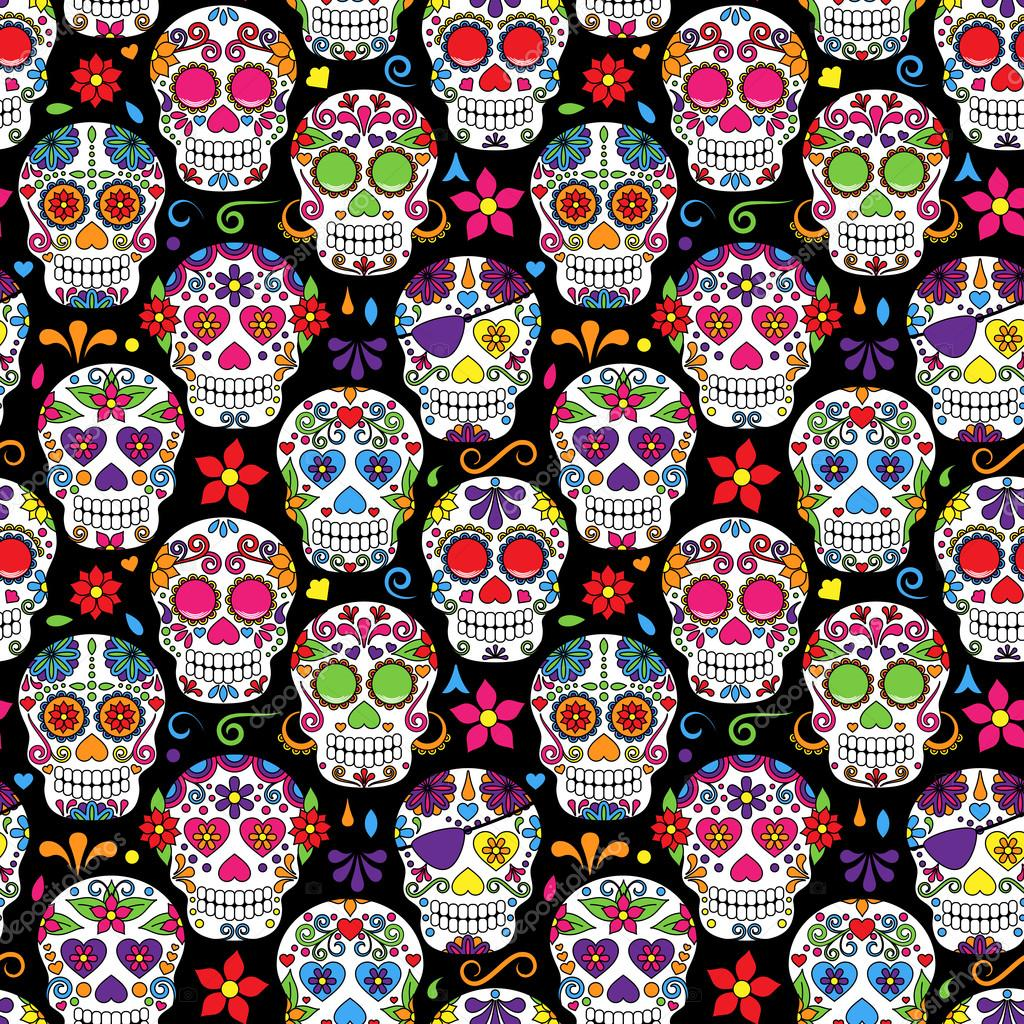 Day Of The Dead Sugar Skull Seamless Vector Background Stock