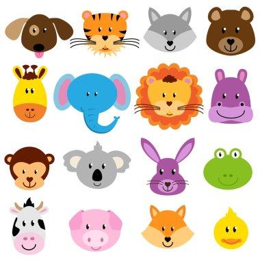 Vector Zoo Animal Faces Set