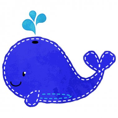Vector Watercolor Style Whale with Stitching