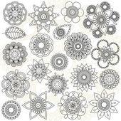 Vektorové kolekce doodle styl květiny nebo mandaly