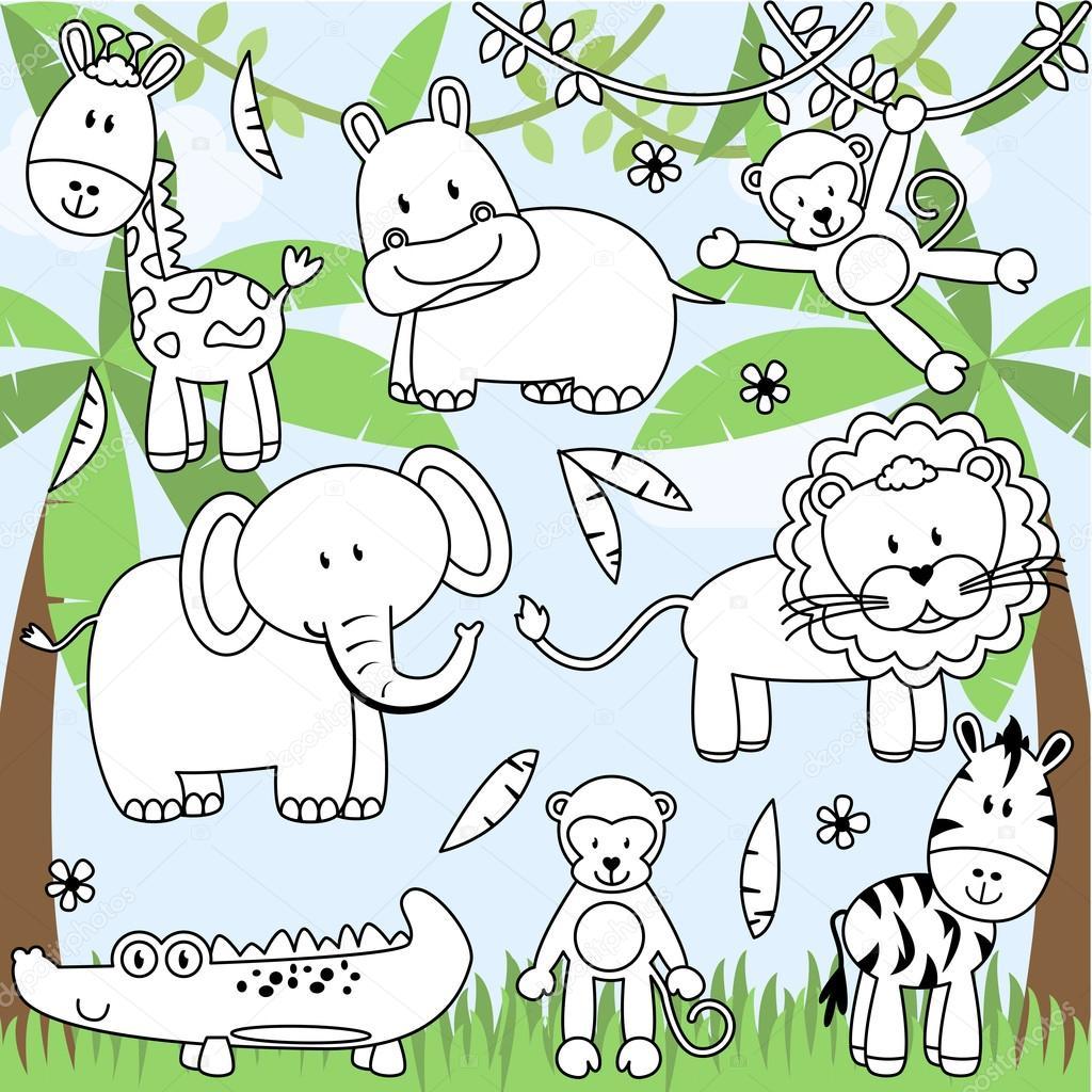 Colección de vectores de dibujos animados animales de zoológico en ...