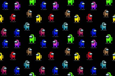 Online game Among Us - multicolor characters. Seamless pattern. Vector illustration. EPS10 icon
