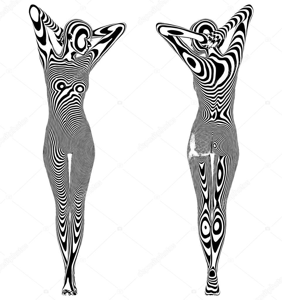 Sexy Naked Stripes Zebra Skin Woman Vector