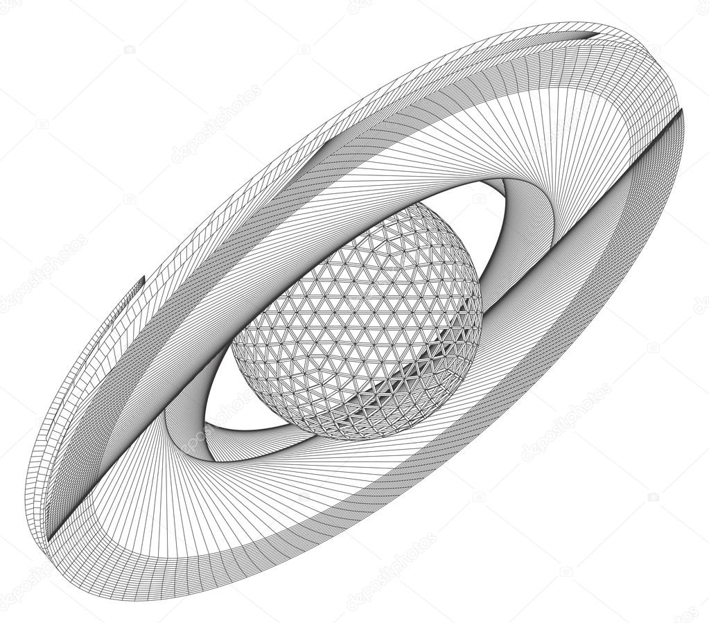 Saturn Abstract Wire Frame Surface Planet Vector — Stock Vector ...