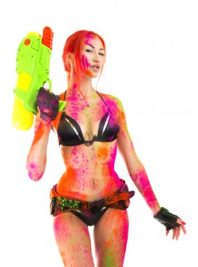Happy Holi Festival! Holi Celebration Party - Beautiful Sexy Girl in bikini with toy gun colored Dry Bright Multicolor Paint Powder on White background. Indian traditional spring Festival in Goa stock vector