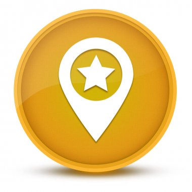 Map pointer star luxurious glossy yellow round button abstract illustration
