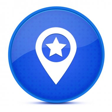 Map pointer star aesthetic glossy blue round button abstract illustration