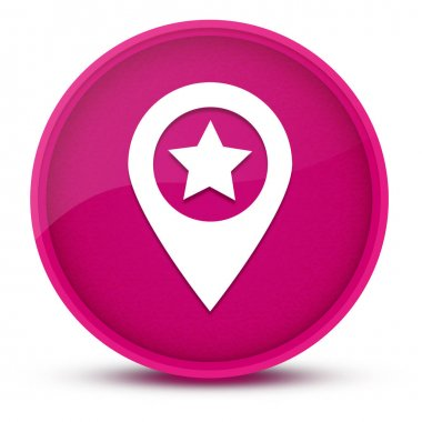 Map pointer star luxurious glossy pink round button abstract illustration