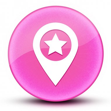 Map pointer star eyeball glossy elegant pink round button abstract illustration