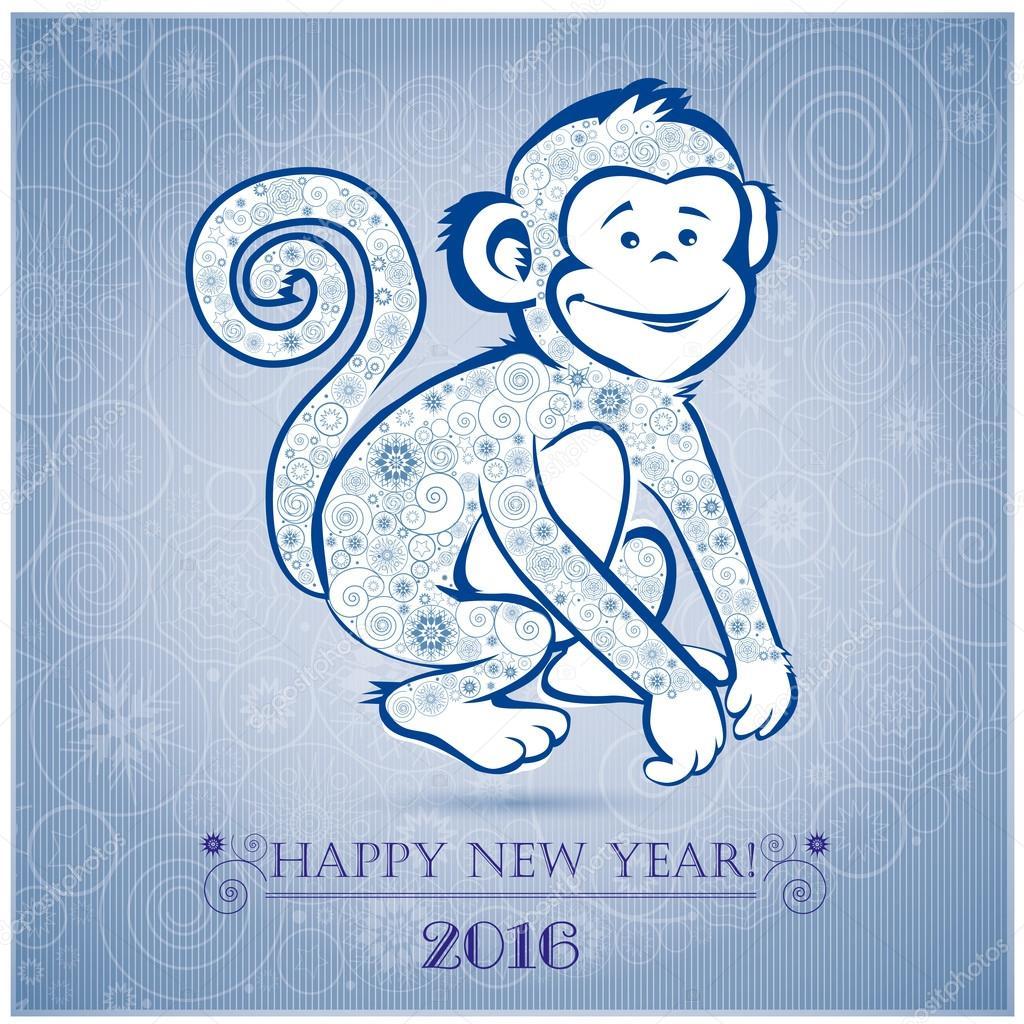Funny monkey on blue background 1