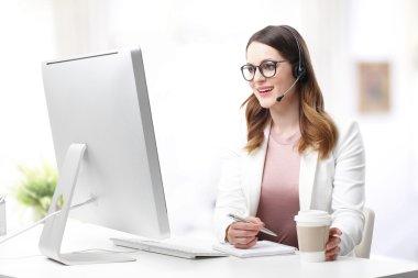 customer support agent sitting