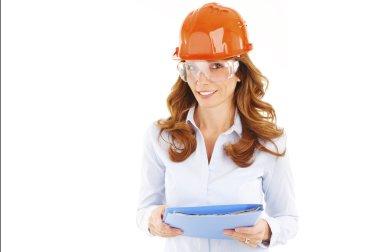 female engineer wearing hardhat