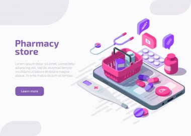 Isometric online pharmacy store with pills blister pack, medicine tablets, pharmaceutical capsules, thermometer, bottle on smartphone screen with payment button via app. Drug pharma web page concept. icon