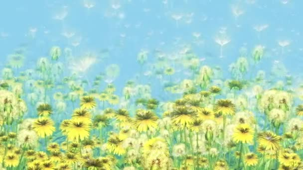 Flowers Dandelions - 3D Animation Loop 10 sec