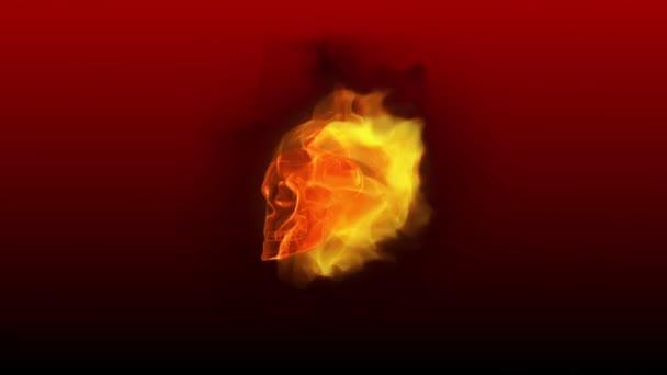 Fiery 3D Skull DJ Dance - smyčka na červené
