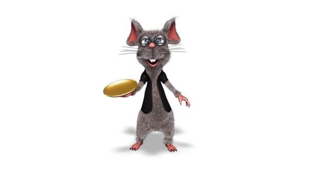 Cartoon 3D Rattenshow Dish - Schleife auf Weiß