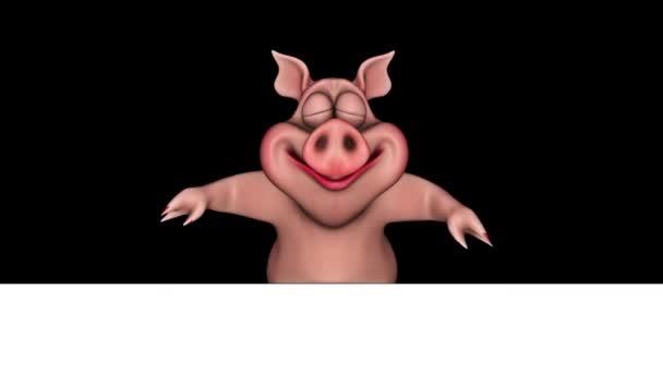 Cartoon Pig Show Ads - Smyčka na bílém