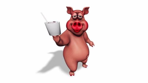 Fun 3D Pig Show Fastfood - smyčka na bílém