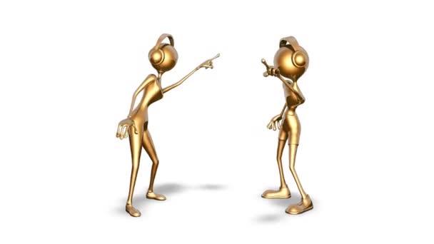 3D Gold Tanz Mann und Frau - Schleife auf Weiß