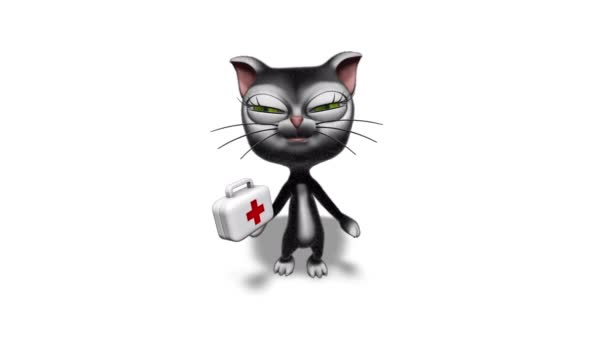 3D Kitty Cat Show Medicine - Looped on White