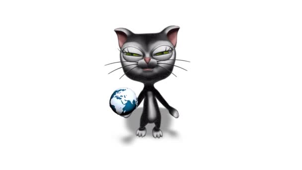 3D Kitty Cat Show Globe - Looped on White