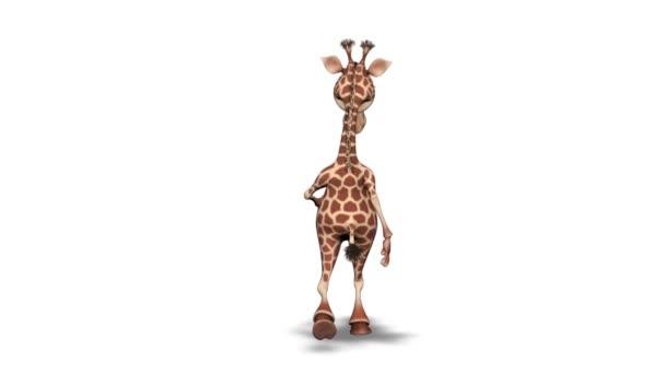 Kreslený 3D žirafa chůze - 2 smyčky na bílém