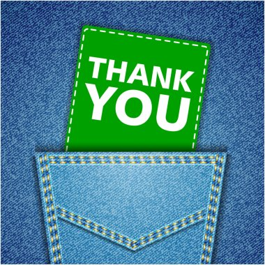 Thank You tag. Blue back jeans pocket realistic denim texture