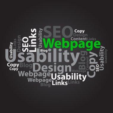Text cloud. Seo wordcloud. Tag concept. Vector illustration.