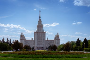 Panorama of Moscow State University in spring