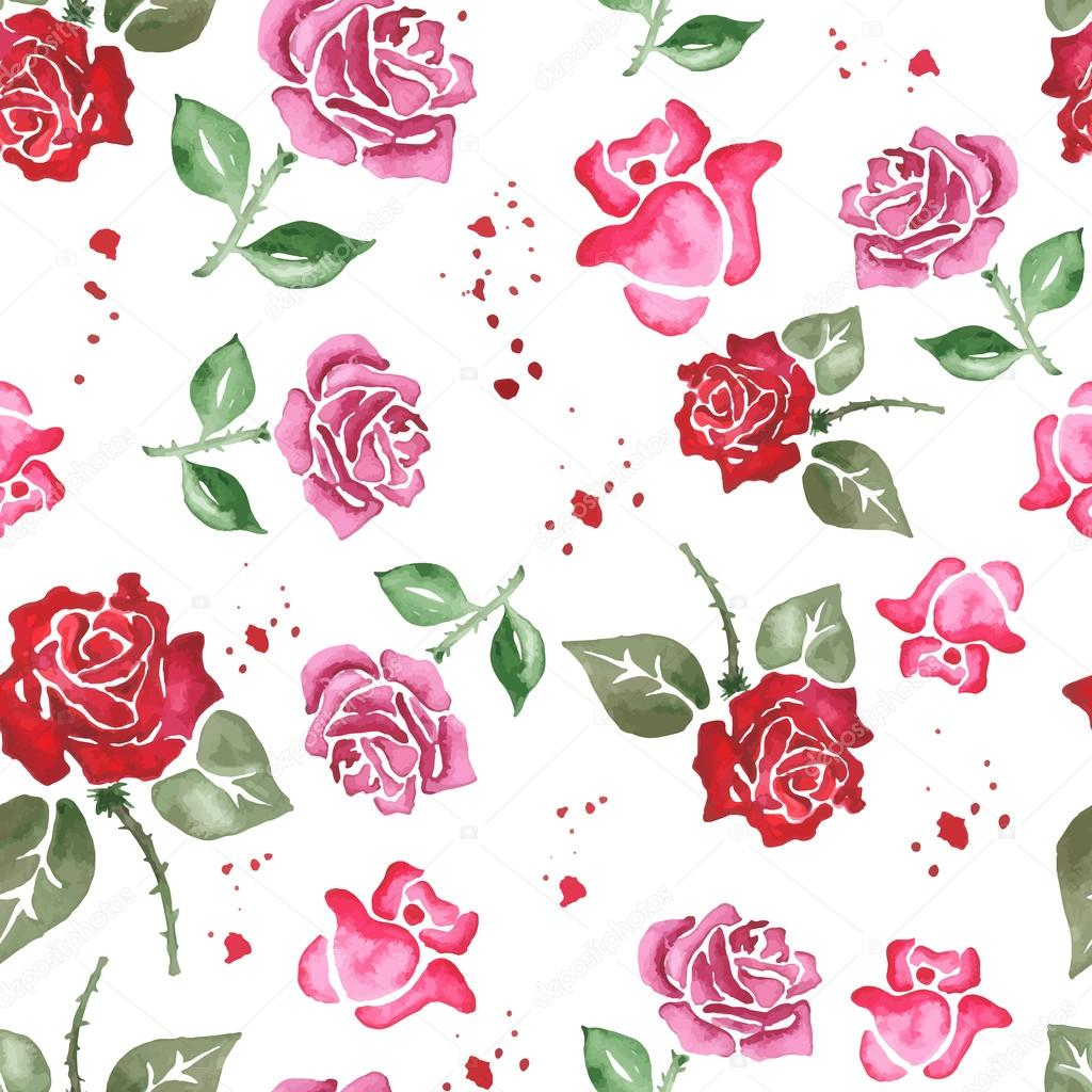 Seamless pattern from the pink and red rose on the transparent background. Watercolour. Vector