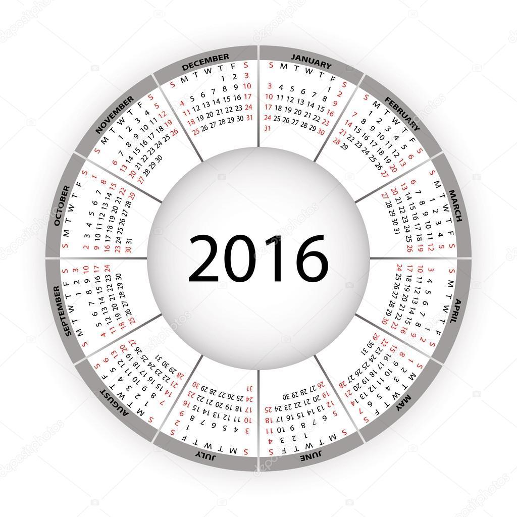 Round calendar for 2016 year.