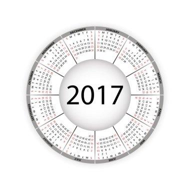 Round calendar for 2017 year.
